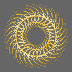 An abstract golden spirograph pattern background image.