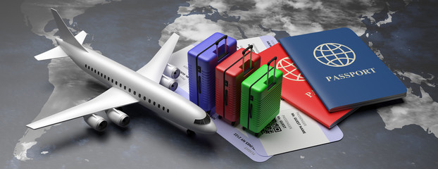 Plane tickets and passports for business trip travel, tourism on world map background. 3d illustration Fotomurales