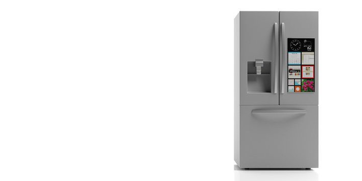 Refrigerator side by side on white background. 3d illustration