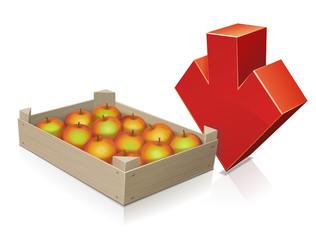 Récolte de pommes à la baisse (reflet)