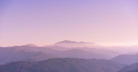 Türaufkleber Rosa hell Purple Foggy Mountains sunrise Nature Backgrounds