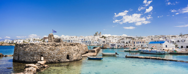 Greece travel banner Naoussa city Paros island famous destination panorama landmark with buildings and sea port Fototapete