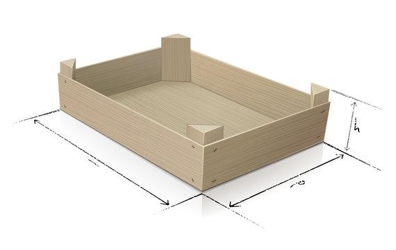 Cageot en bois  et ses dimensions (reflet)
