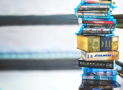 Passion for cinema, a stack of movie collection in blue ray disc format in Hollywood