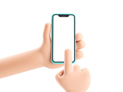 Cartoon device Mockup. Cartoon hand holding phone on white background. 3d illustration.
