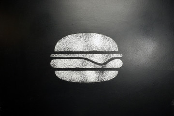 Hamburger. Drawing on a black chalkboard