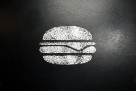 Hamburger. Drawing on a black chalkboard