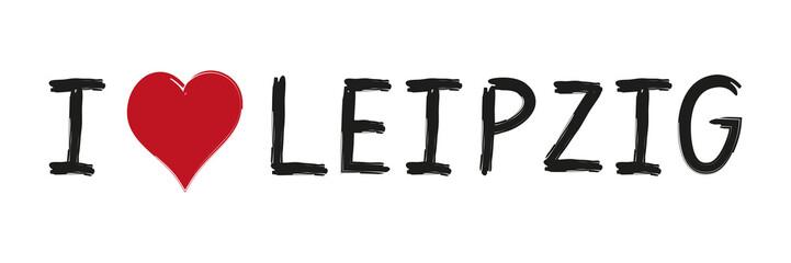 Banner, Werbung, Schriftzug, I love Leipzig, Stadt, Herz, Tattoo, Grossstadt, vektor, isoliert