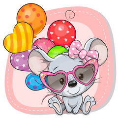 Cute Cartoon Mouse with balloons