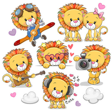 Cute Cartoon Lions on a white background