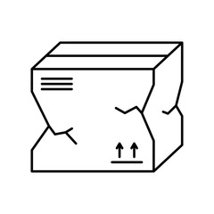 Broken package box icon. Linear template for delivery logo. Black simple illustration of problems with transportation and storage of goods. Contour isolated vector image on white background