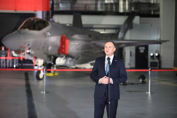 Poland's President Duda attends a ceremony to sign a contract for the purchase of Lockheed Martin F-35 fighter jets in Deblin