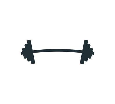 gym heavy weight lift barbel vector logo design
