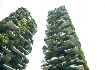 Foto auf Leinwand Milan Trees grow on the balconies of a residential building. The environment and everyday life.