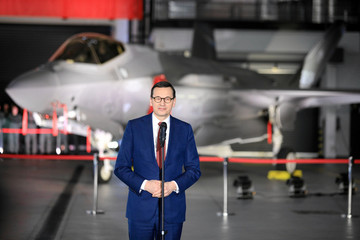Poland's Prime Minister Morawiecki attends a ceremony to sign a contract for the purchase of Lockheed Martin F-35 fighter jets in Deblin