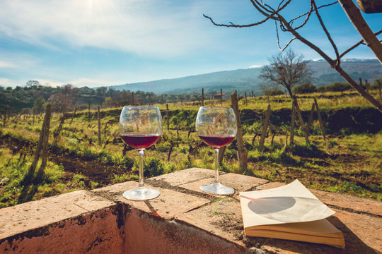 Two glasses of wine in the vineyards at the foot of the Etna volcano