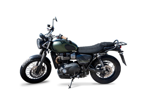 Street scrambler motorcycle side view isolated on white
