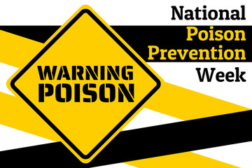 National Poison Prevention Week concept. Template for background, banner, card, poster with text inscription. Vector EPS10 illustration.