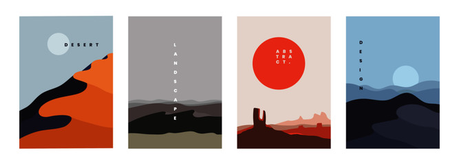 Landscape background, vector illustration. Geometric template with sunrise and sunset in desert in oriental style. Minimalistic abstract poster design Wall mural