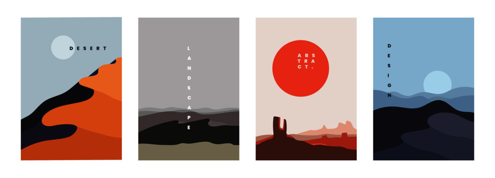 Landscape background, vector illustration. Geometric template with sunrise and sunset in desert in oriental style. Minimalistic abstract poster design