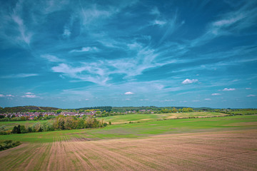 Foto op Plexiglas Blauwe jeans landscape with wheat field and blue sky