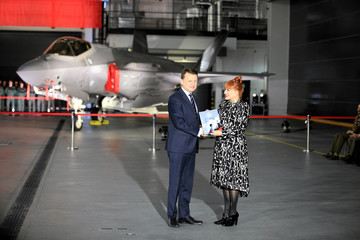U.S. Ambassador to Poland Mosbacher and Poland's Defence Minister Blaszczak attend a ceremony to sign a contract for the purchase of Lockheed Martin F-35 fighter jets in Deblin