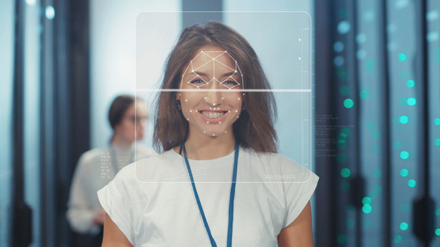 Face ID. Facial Recognition. Biometric Face Detection. 3D Technological Scanning of Face of Smiling Cheerful Woman Server Specialist in Computer Security Data Center. Security Check. Concept of Future