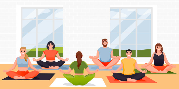 Yoga class vector flat cartoon illustration. People sitting in lotus position on floor. Women and men practicing yoga