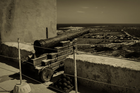 The Old Cannon in the Red Tower in Malta