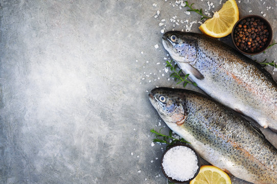 Sea trout fresh fish from market, seafood diet cooking background