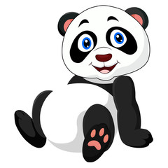 Vector picture of panda on a white background