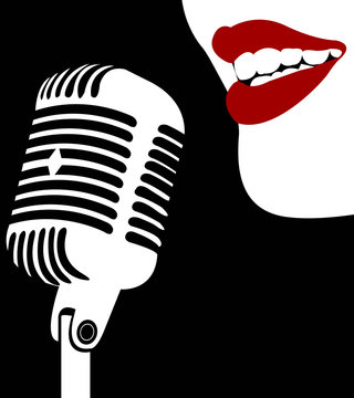 woman with microphone sing song red lips vintage