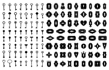 Key and keyhole silhouettes. Old house door keys, vintage lock keyholes frames and retro key silhouette icon vector set. Collection of elegant decorative antique and modern keyways of various shapes.