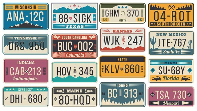 Abstract USA states license plates. Colorful retro car license, number plate templates vector set. Bundle of various vehicle registration signs or automobile identifiers in elegant vintage style.