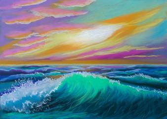 Illustration. Sea wave at sunset