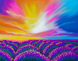 Illustration. Pastel. Lavender field