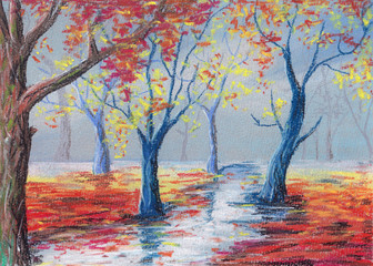 Illustration. Autumn foggy forest