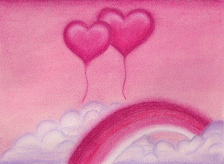Illustration. Pastel. Pink hearts balloons and rainbow on sky