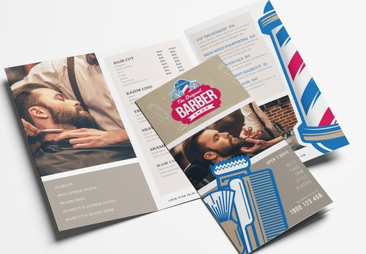 Trifold Brochure Layout with Barber Shop Themed Illustrations