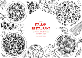 Pizza, pasta and ravioli cooking and ingredients for pizza, pasta and ravioli , sketch illustration. Italian cuisine frame. Food menu design elements. Pizza and pasta hand drawn frame. Italian food. Fotomurales