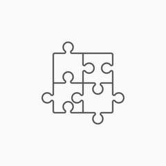 puzzle icon, jigsaw puzzle vector