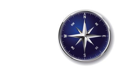 Glossy chromy metallic vector clip art compass rose isolated on white background
