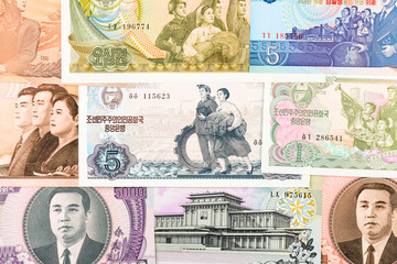 North Korea Won banknotes background. High resolution vintage photo of North Korean bill 3, DPRK money close up macro.