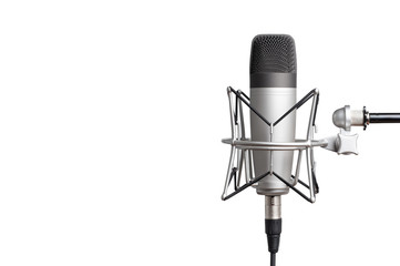 professional studio condenser microphone for voice recording on a white background. isolated on white background