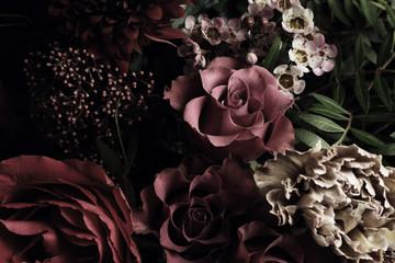 Spoed Fotobehang Bloemen Beautiful bouquet of different flowers, closeup. Floral card design with dark vintage effect