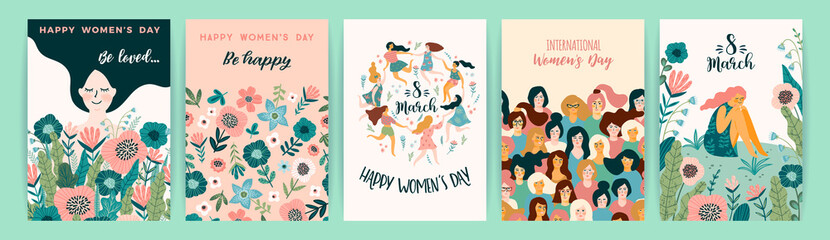 International Women s Day. Vector templates with cute women. Fototapete