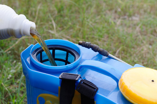 pouring herbicide water from bottle into tank sprayer