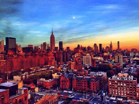 Manhattan Against Sky During Sunset