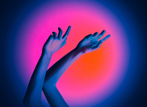 Woman hands Neon surreal