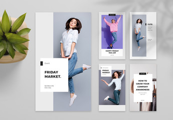 Black and White Social Media Post Layout Set